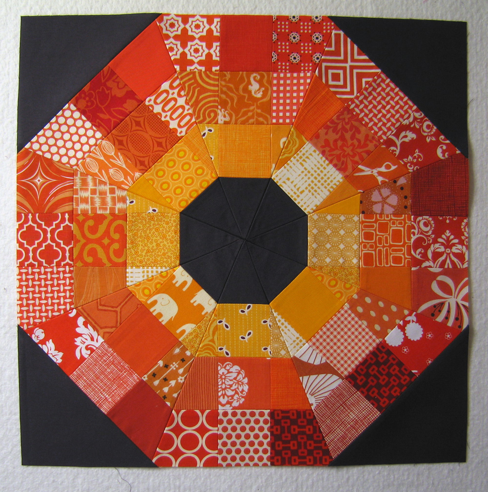 Octagon Quilting Templates : 100 Days Week of Blocks Octagonal Orb Block Tutorial The Modern Quilt Guild