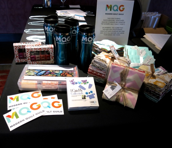 Giveaways from our sponsors for open sew.