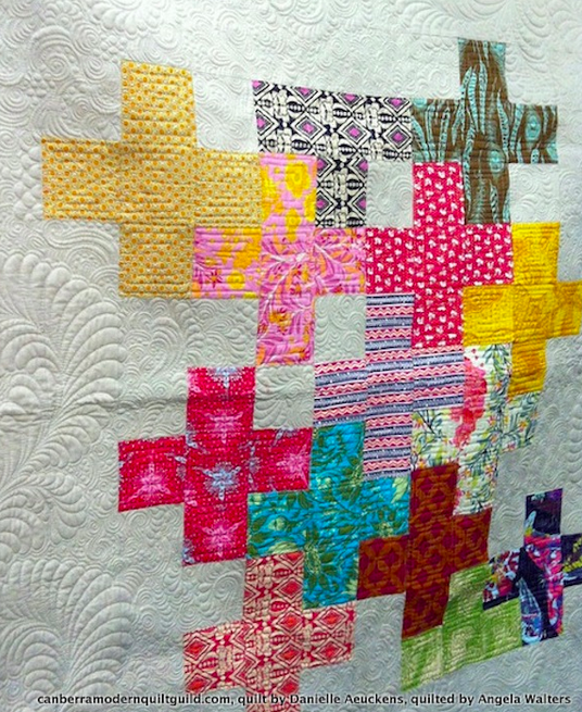 http://canberramodernquiltguild.files.wordpress.com/2014/05/danielle-plus1.jpg Plus One by Danielle Aeuckens (http://www.polkadottea.com), quilted by Angela Walters (http://www.quiltingismytherapy.com)