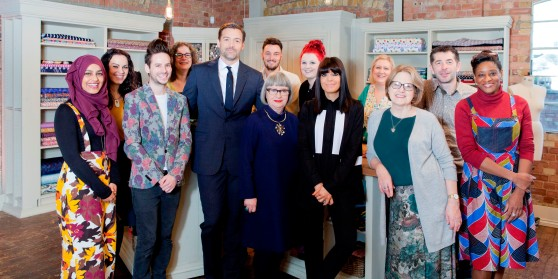 WARNING: Embargoed for publication until 00:00:01 on 10/05/2016 - Programme Name: The Great British Sewing Bee - TX: n/a - Episode: n/a (No. Generics) - Picture Shows: (L-R) Rumana, Angeline, Duncan, Charlotte, Patrick Grant, Esme Young, Josh, Jade, Claudia Winkleman, Tracey, Joyce, Jamie, Ghislaine - (C) Love Productions - Photographer: Charlotte Medlicott